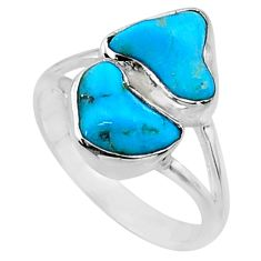 8.51cts natural blue sleeping beauty turquoise rough silver ring size 7 r65623