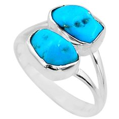 8.46cts natural blue sleeping beauty turquoise rough silver ring size 7 r65625
