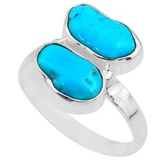 7.98cts natural blue sleeping beauty turquoise rough silver ring size 7 r65637