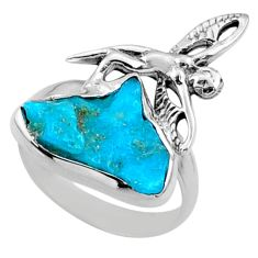 6.72cts natural blue sleeping beauty turquoise raw silver ring size 7 r66685