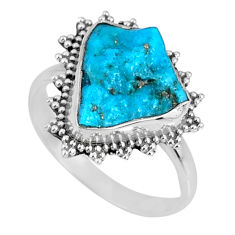 5.06cts natural blue sleeping beauty turquoise rough silver ring size 8 r62213