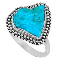 6.82cts natural blue sleeping beauty turquoise rough silver ring size 8 r62224