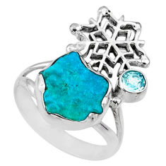 6.57cts natural blue sleeping beauty turquoise raw silver ring size 8 r66674