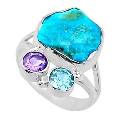 8.94cts natural blue sleeping beauty turquoise rough silver ring size 8 r66846