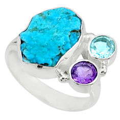 8.42cts natural blue sleeping beauty turquoise raw silver ring size 8 r73341
