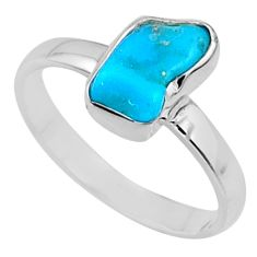 5.39cts natural blue sleeping beauty turquoise raw silver ring size 9 r65588