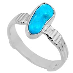 6.53cts natural blue sleeping beauty turquoise rough silver ring size 9 r65590