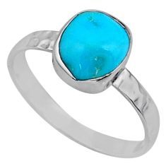 3.98cts natural blue sleeping beauty turquoise rough silver ring size 9 r65599