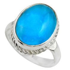 6.83cts natural blue smithsonite 925 silver solitaire ring jewelry size 7 r28586