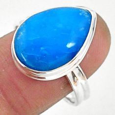 10.32cts natural blue smithsonite 925 silver solitaire ring size 8.5 r95525
