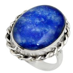 14.70cts natural blue sodalite 925 silver solitaire ring jewelry size 8 r28256