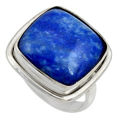 15.47cts natural blue sodalite 925 silver solitaire ring jewelry size 8 r28271