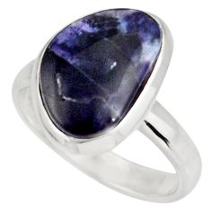 6.39cts natural blue sodalite 925 sterling silver solitaire ring size 7.5 d39069