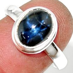 4.30cts natural blue star sapphire 925 silver solitaire ring size 7.5 r34843