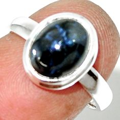 4.07cts natural blue star sapphire 925 silver solitaire ring size 6.5 r34845