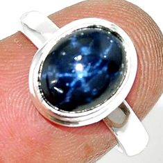 4.31cts natural blue star sapphire 925 silver solitaire ring size 6.5 r34852
