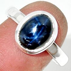 3.93cts natural blue star sapphire 925 silver solitaire ring size 8.5 r34862