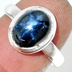 4.30cts natural blue star sapphire 925 silver solitaire ring size 6.5 r34866
