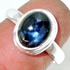 4.27cts natural blue star sapphire 925 silver solitaire ring size 6.5 r34877