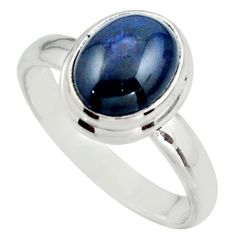 4.30cts natural blue star sapphire 925 silver solitaire ring size 7.5 r41746