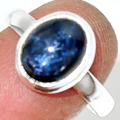 4.52cts natural blue star sapphire 925 silver solitaire ring size 7 r34871