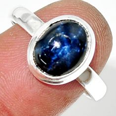 4.47cts natural blue star sapphire 925 silver solitaire ring size 8 r34857