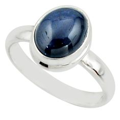 4.30cts natural blue star sapphire 925 silver solitaire ring size 8 r41742