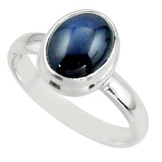 4.30cts natural blue star sapphire 925 silver solitaire ring size 8 r41745