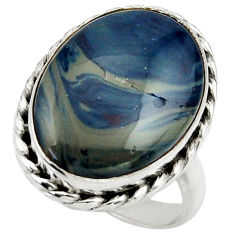 13.68cts natural blue swedish slag 925 silver solitaire ring size 7.5 r28521