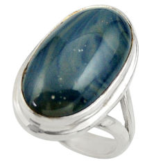 13.48cts natural blue swedish slag 925 silver solitaire ring size 5.5 r28532