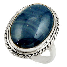 16.17cts natural blue swedish slag 925 silver solitaire ring size 8.5 r28537
