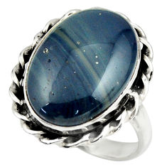 13.68cts natural blue swedish slag 925 silver solitaire ring size 8.5 r28541