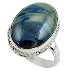 15.21cts natural blue swedish slag 925 silver solitaire ring size 9.5 r28543