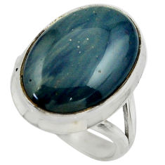 13.55cts natural blue swedish slag 925 silver solitaire ring size 7.5 r28545