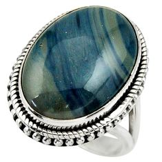 14.65cts natural blue swedish slag 925 silver solitaire ring size 7.5 r28546
