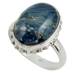 10.68cts natural blue swedish slag 925 silver solitaire ring size 8.5 r28551