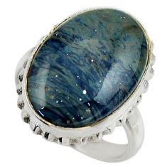 14.47cts natural blue swedish slag 925 silver solitaire ring size 7.5 r28560
