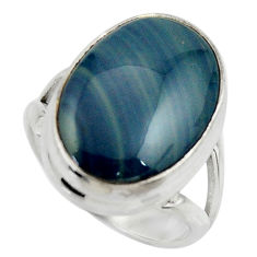 12.93cts natural blue swedish slag 925 silver solitaire ring size 6.5 r28598