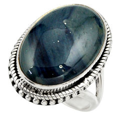 17.24cts natural blue swedish slag 925 silver solitaire ring size 6.5 r28643