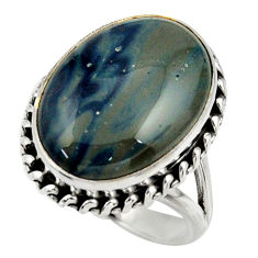 13.48cts natural blue swedish slag 925 silver solitaire ring size 7.5 r28671