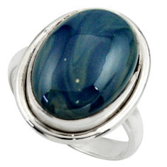 11.91cts natural blue swedish slag 925 silver solitaire ring size 8.5 r28673