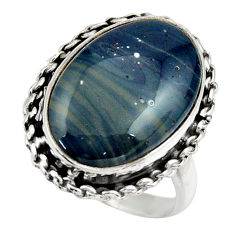 12.77cts natural blue swedish slag 925 silver solitaire ring size 8.5 r28677