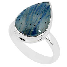 7.97cts natural blue swedish slag 925 silver solitaire ring size 8.5 r95563
