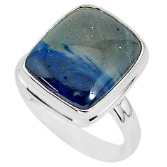 7.73cts natural blue swedish slag 925 silver solitaire ring size 7.5 r95565