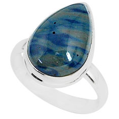 10.05cts natural blue swedish slag 925 silver solitaire ring size 8.5 r95575