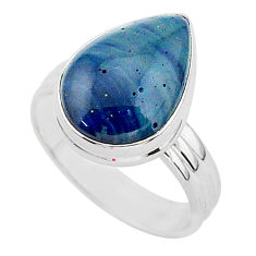 7.19cts natural blue swedish slag 925 silver solitaire ring size 8.5 r95707