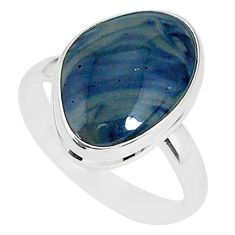 9.58cts natural blue swedish slag 925 silver solitaire ring size 10 r95585
