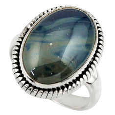 8.45cts natural blue swedish slag 925 silver solitaire ring size 7 r28523
