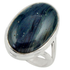 15.80cts natural blue swedish slag 925 silver solitaire ring size 7 r28534