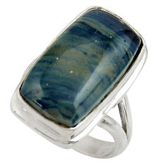 13.99cts natural blue swedish slag 925 silver solitaire ring size 7 r28536